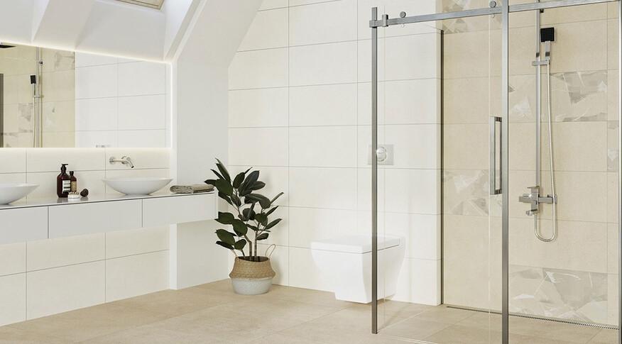 Steuler Fliesen Paperstone warme Töne im Badezimmer