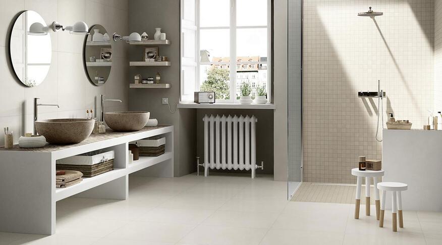 marazzi block 30x30 greige mosaik, 60x60 white lux