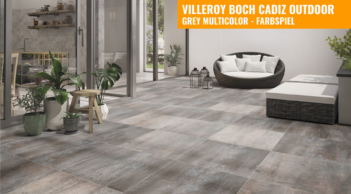 Villeroy & Boch Cadiz Outdoor 60x60 grey multicolor