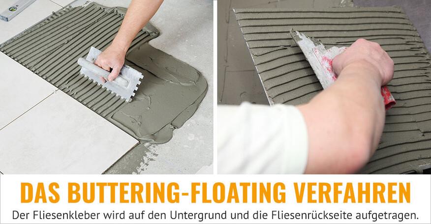 Zwei Fotos zeigen, dass der Untergrund und die Fliesenrückseite beim Buttering-Floating Verfahren mit Fliesenkleber eingestrichen werden.