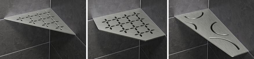Ablagesystem für die Dusche, das zwischen die Wandfliesen installiert wird Schlüter Systems SHELF-E, drei Formen verfügbar.