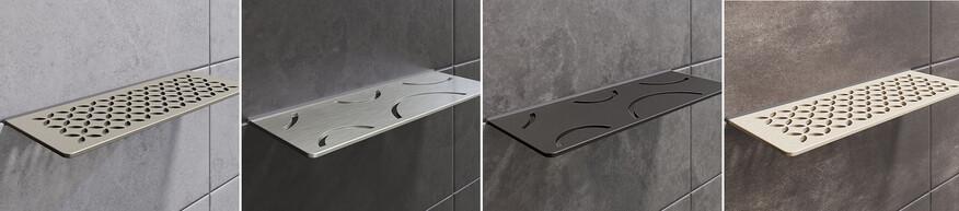Ablagesystem für die Dusche, das zwischen die Wandfliesen installiert wird: Schlüter Systems SHELF-W.